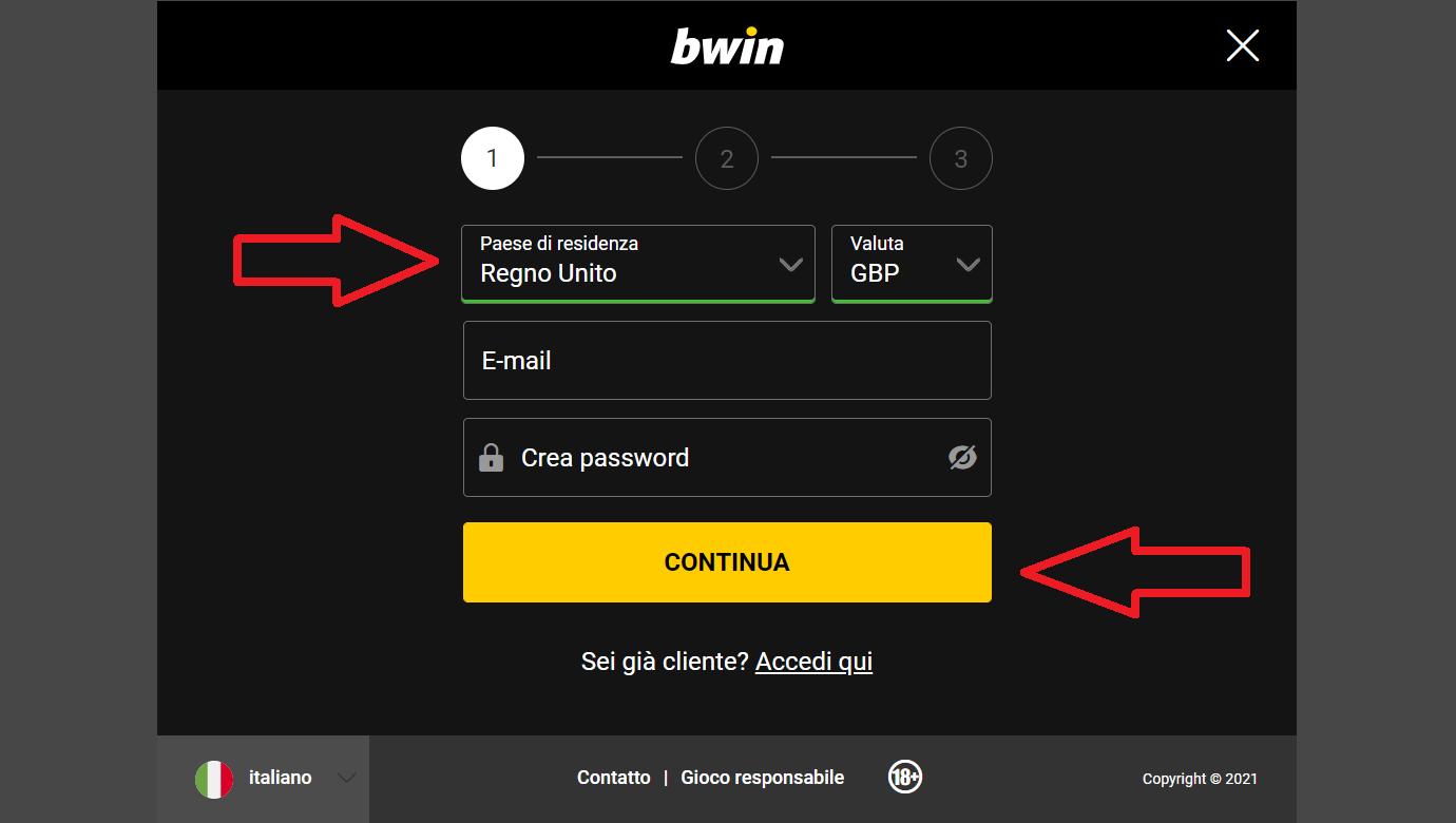 Bwin Registrazione: apertura conto – login